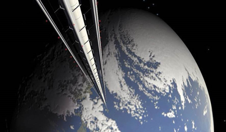 An artist's conception shows a space elevator rising up from Earth's surface. Image: Pat Rawlings / NASA file