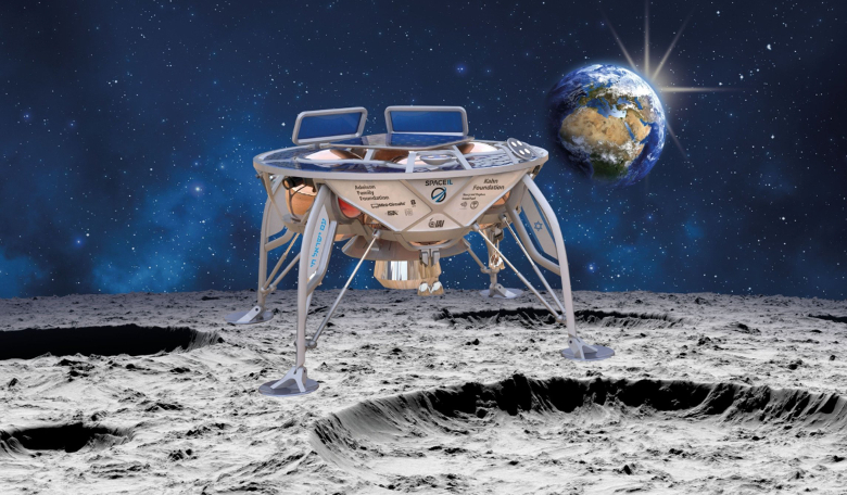 Artist's illustration of SpaceIL's lander on the surface of the moon. Image: SpaceIL