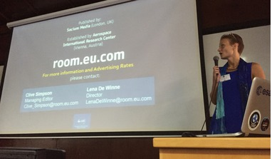 Maria Rhimbassen showcasing ROOM, The Space Journal at the recent SpaceUp unconference in Haifa, Israel.