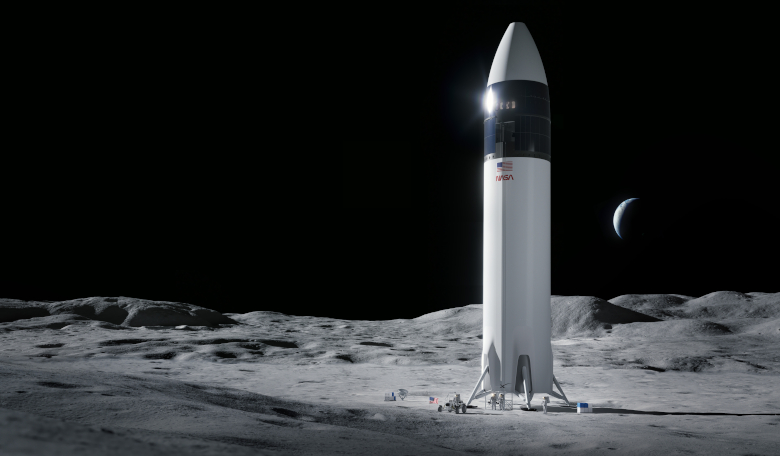 Illustration of SpaceX Starship human lander design that will carry NASA astronauts to the Moon's surface during the Artemis mission. Image: SpaceX