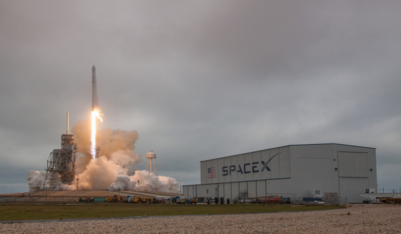 SpaceX's first Falcon 9 rocket to launch from NASA's historic Launch Pad 39A at the Kennedy Space Center in Cape Canaveral, Florida on 19th Feb, 2017. Image: SpaceX
