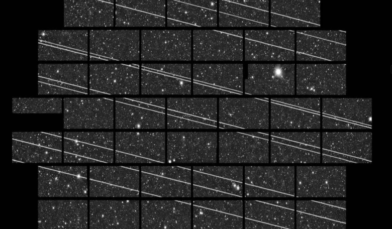 A wide-field image from the Dark Energy Camera on the Víctor M. Blanco 4-m telescope, taken on 18 November 2019, when several Starlink satellites crossed the field of view. Image: CTIO/NOIRLab/NSF/ AURA/DECam DELVE Survey