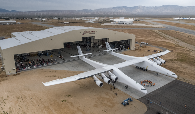 The Stratolaunch carrier aircraft that was rolled out of its hangar for the first time last week. Image: Stratolaunch