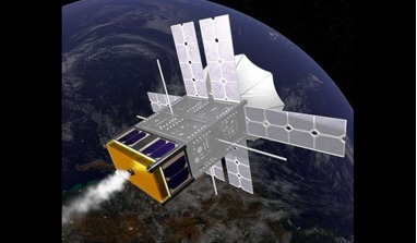 An artist's rendering of the steam-powered ThermSat in orbit (the extended solar panels are solely for powering the satellite payload). Image: Howe Industries