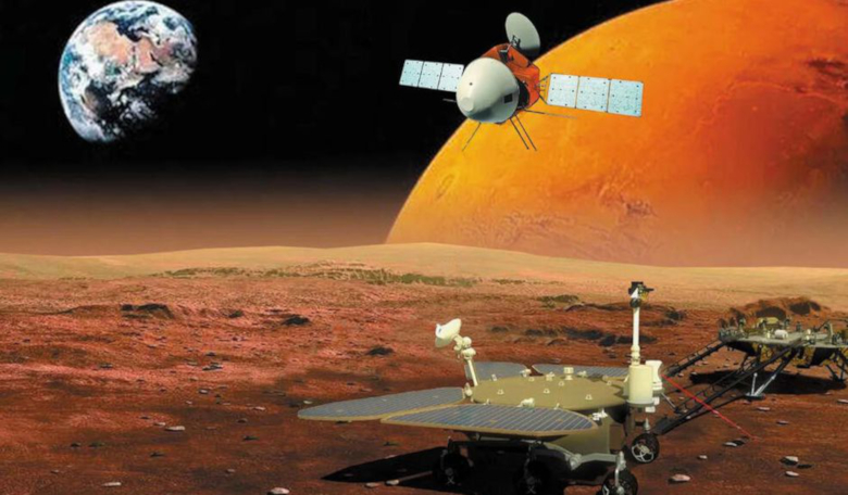 An artist's rendering of Tianwen-1 and its lander and rover at Mars: Image: Nature Astronomy