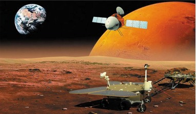 An artist's impression of China's Tianwen-1 mission, that will study the Red Planet with a combination of orbiter and lander/rover. Image: CAS/W. X. Wan et al/Nature Astronomy