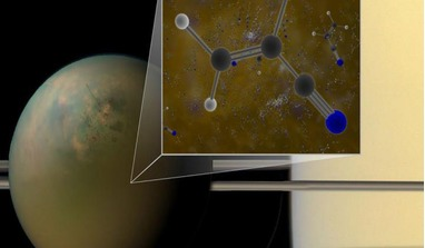 Archival ALMA data have confirmed that molecules of vinyl cyanide reside in the atmosphere of Titan. In a liquid methane environment, vinyl cyanide may form membranes. Image: B. Saxton (NRAO/AUI/NSF); NASA