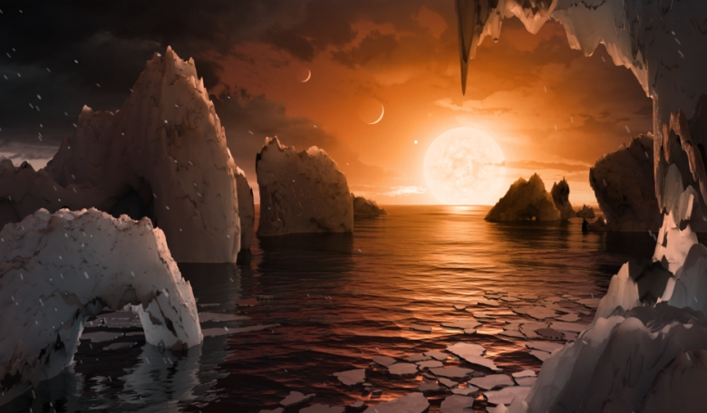 This artist's concept allows us to imagine what it would be like to stand on the surface of the exoplanet TRAPPIST-1f, located in the TRAPPIST-1 system in the constellation Aquarius. Credits: NASA/JPL-Caltech
