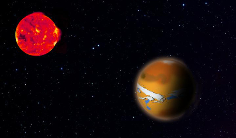 an artist's impression of TRAPPIST 1d (right) and its host star TRAPPIST 1 (left). The new research shows how planets like this could hide traces of life from astronomers' observations. Image: MPIA Graphics Department