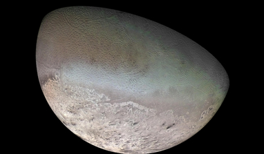 This global colour mosaic of Neptune's moon Triton was taken in 1989 by Voyager 2 during its flyby of the Neptune system. Image: NASA/JPL/USGS