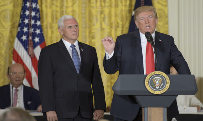 President Donald Trump, along with Vice President Mike Pence, at Monday's meeting of the National Space Council held at the White House. Image: NASA/Bill Ingalls