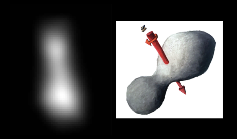 The Kuiper Belt object Ultima Thule (left) taken by the New Horizons spacecraft on 31 Dec, 2018 just before its flyby closest approach on 1 Jan, 2019. Image: NASA/JHUAPL/SwRI; sketch courtesy of James Tuttle Keane
