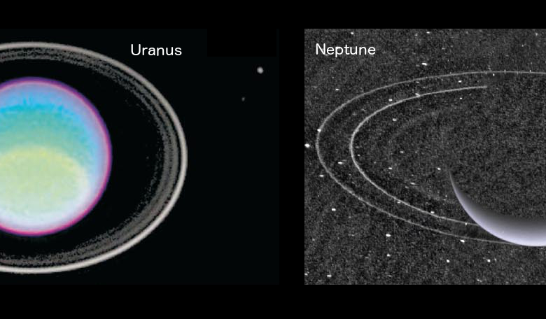 The rings of Uranus and Neptune.