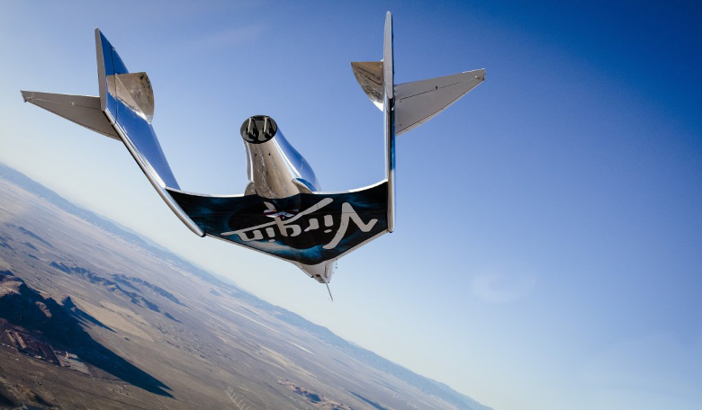 SpaceShipTwo – a reusable, winged spacecraft designed to repeatedly carry as many as eight people (including two pilots) into space. Image: Virgin Galactic