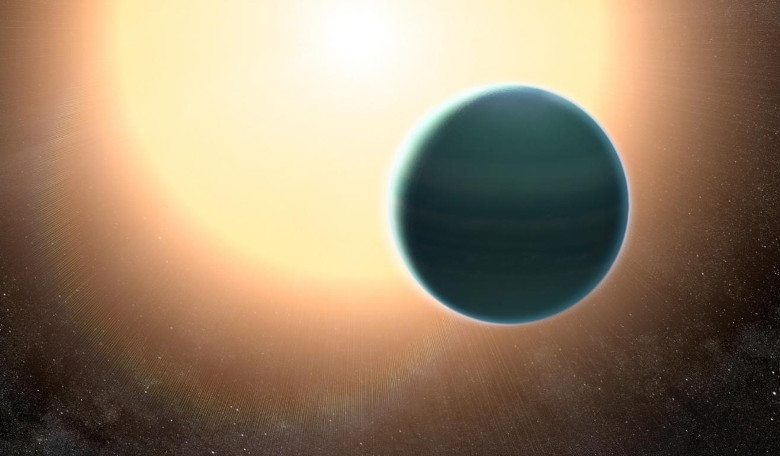 The atmosphere of the distant 'warm Neptune' HAT-P-26b, illustrated here, is unexpectedly primitive, composed primarily of hydrogen and helium. Image: NASA/GSFC