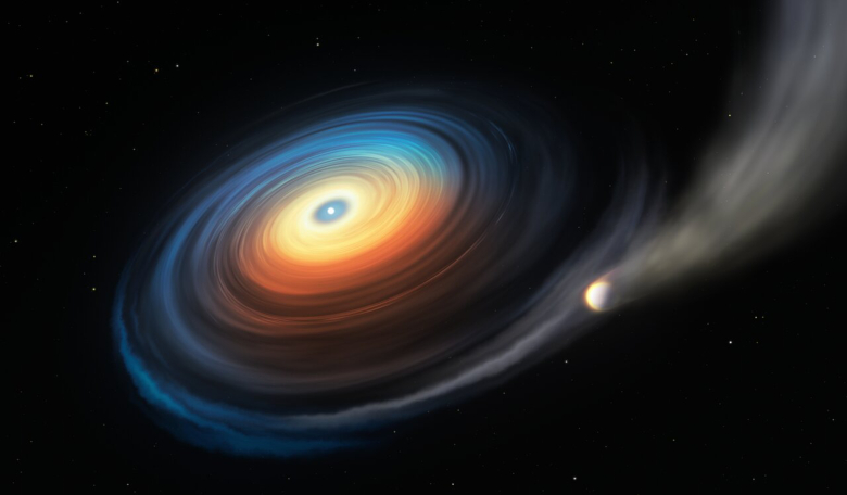 A white dwarf is stealing the atmosphere from a Neptune-like exoplanet