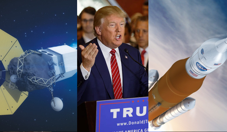 Will the ARMS and SLS missions survive under a Trump Administration? Image: NASA (ARMS) / Wikicommons / Boeing (SLS)