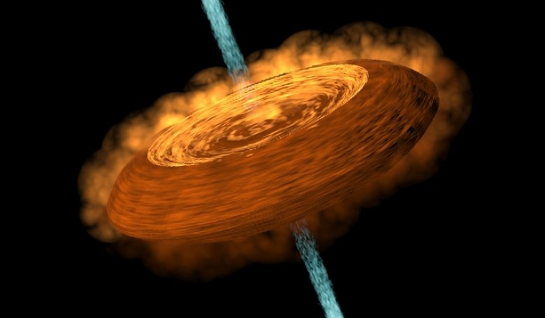An illustration of an accretion disk feeding a central young star, or protostar, and the gaseous jet ejected from the protostar. Credit: Yin-Chih Tsai/ASIAA