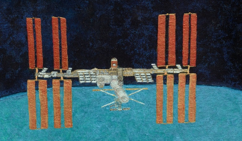 The International Space Station as seen from the Space Shuttle Discovery during the STS-133 departure - an original oil and acrylics painting by Nicole Stott (Spacecraft Collection)