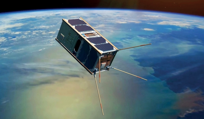 Illustration of the UNSW-EC0 cubesat in orbit above Earth.