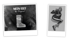 Moon Boot advertising campaign clearly displaying the inspiration from Armstrong's first lunar footprint. Innovative shape and material together with lightness and freedom of movement are the keywords of the success of the Italian brand.