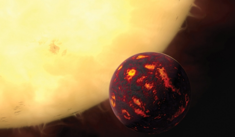 Artist's impression of the super-Earth 55 Cancrie in front of its parent star.