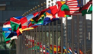 Flags of member nations flying at United Nations Headquarters in New York.