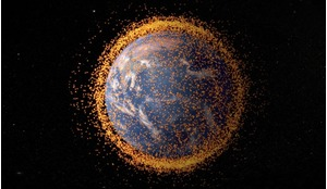 Illustration showing the proliferation of space debris around the Earth - a rapidly worsening problem.