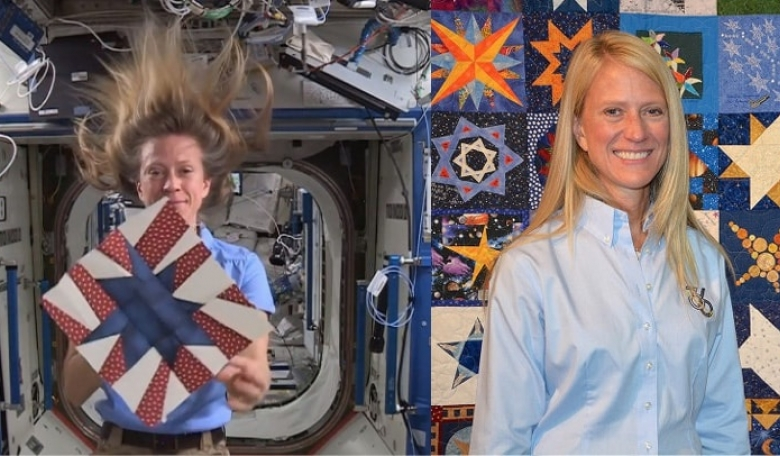Left: Astronaut/Artist Karen Nyberg, ISS Expedition 37, shares her star quilt block. Right: Astronaut/Artist Karen Nyberg with the completed AstroBlock Quilt Challenge quilt that incorporates her star block in the centre.