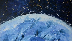An artistic interpretation of orbital tracks for satellites in a mega constellation by artist Zoe Squires (see p108).