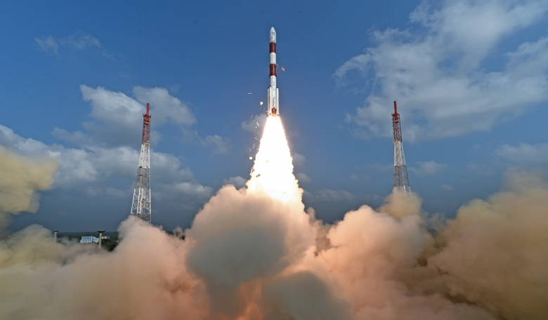 Launch of India's PSLV-C37 carrying a record number of 104 satellites.