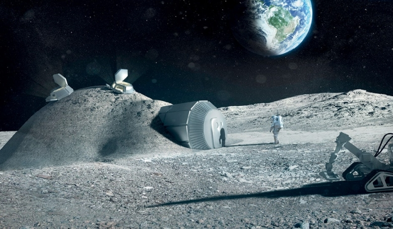 Multi-dome lunar base being constructed, based on the 3D printing concept. Once assembled, the inflated domes are covered with a layer of 3D-printed lunar regolith by robots to help protect the occupants against space radiation and micrometeoroids.