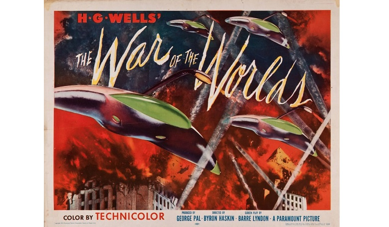 "Poster from 1953 film version of H G Wells' novel, 'War of the Worlds' (1898). Wells' invading Martians were possessed of intellects ""vast, and cool, and unsympathetic""."