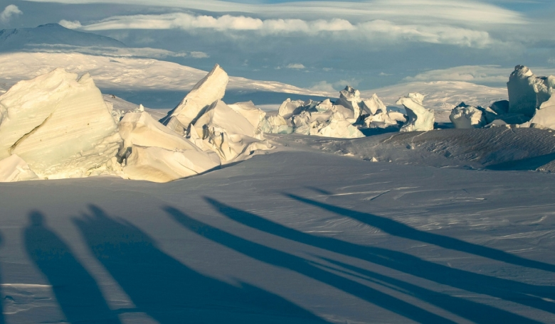 Pressure ridges near McMurdo station in Antarctica, where the ARIANNA logistics base is located. Pressure ridges occur when the annually forming sea ice pushes into the permanent ice of Antarctica.