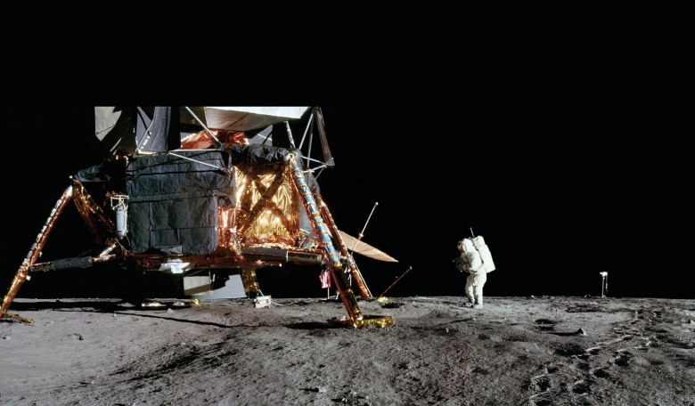 Pete Conrad ventured a short way down inside Surveyor Crater to get into position for this shot, known as the 8 o'clock panorama because of the angle it was taken from relative to the lunar module's front hatch.