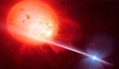 Depiction of the strange object of AR Scorpii. In this unique double star, a rapidly spinning white dwarf star (right) powers electrons up to almost the speed of light.