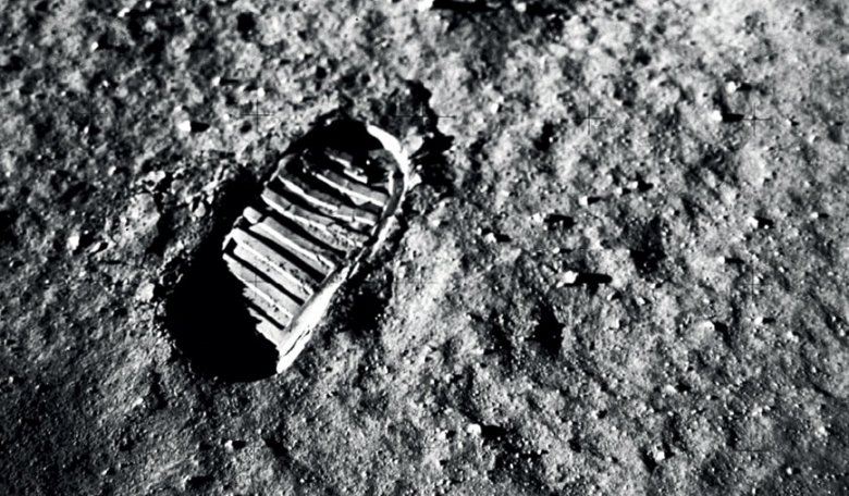 A first off-world step, imprinted in the jagged lunar soil, photographed on July 20, 1969 in the region known as the Sea of Tranquility.