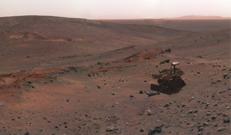 A synthetic image of the Spirit rover on the flank of Husband Hill' produced using 'Virtual Presence in Space' technology which combines visualisation and image-processing tools with Hollywood-style special effects.