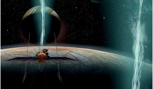 An artistic interpretation by James Vaughan of NASA's proposed 'Europa Clipper' lining-up to make a pass through one of Europa's enigmatic plumes.