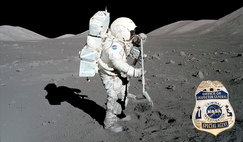Scientist-astronaut Harrison-Schmitt collects lunar rake samples ranging in size from 1.3 to 2.5 cm during the Apollo 17 mission in 1972. The rake was used to collect rocks and rock chips