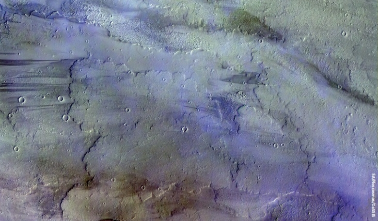 Diffuse, water-ice clouds, a hazy sky and a light breeze. Such might have read a weather forecast for the Tharsis volcanic region on Mars on 22 November 2016, when this image was taken by the ExoMars Trace Gas Orbiter.