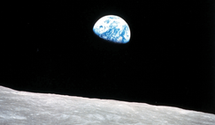 The iconic 'Earthrise' from Apollo 8 in 1968.