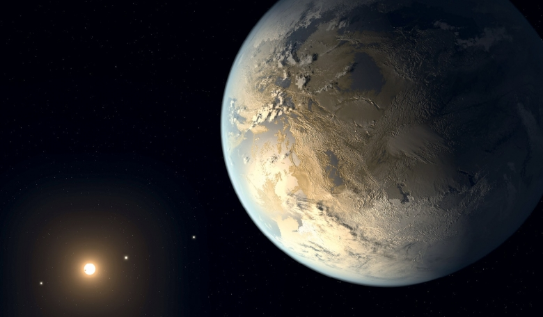 Artist's concept of Kepler-186f, the first rocky planet to be found within the habitable zone; the region around the host star where the temperature is right for liquid water.