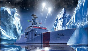 Artist's concept of a US Coast Guard cutter illuminating Arctic icebergs.