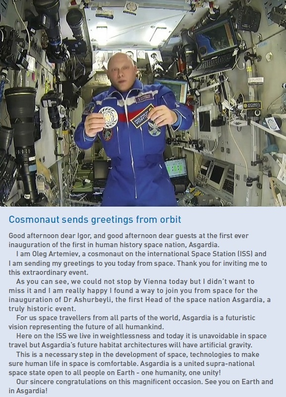 Cosmonaut Oleg Atremiev sends a message from the International Space Station.