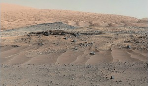 A panorama combining images from NASA's Curiosity Mars Rover shows diverse geological textures on Mount Sharp.