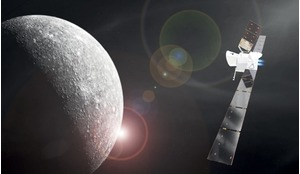 Artist's impression of BepiColombo in cruise configuration, approaching Mercury. On its 7.2-year journey to the innermost planet, BepiColombo will fly-by Earth once, Venus twice and Mercury six times before entering orbit.