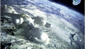 Multi-dome lunar base being constructed based on the 3D printing concept. Once assembled, the inflated domes are covered with a layer of 3D-printed lunar regolith by robots to help protect the occupants against space radiation and micrometeoroids.