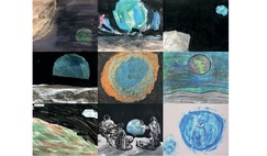 A mosaic of paintings by children from around the world, all inspired by Apollo 8's iconic 'Earthrise' photo.