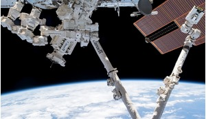 A view of Canadian space robots Canadarm2 and Dextre on the International Space Station in LEO.